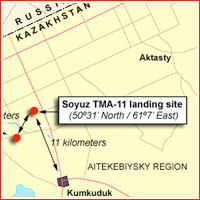 Soyuz TMA-11 landing site map