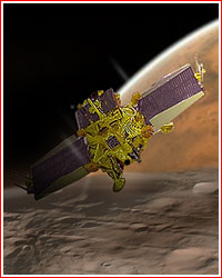 Artist's impression of Phobos Grunt approaching Phobos