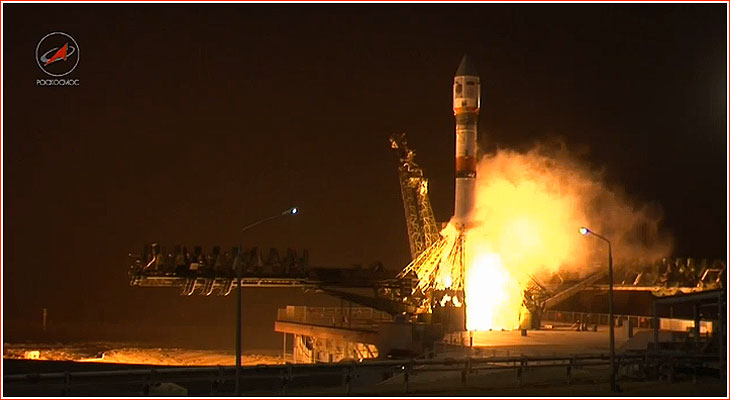 A day after a rare last-minute abort by its Soyuz launcher, Russian specialists succeeded in the launch of Russian Earth observation satellite from the Baikonur Cosmodrome.